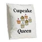 Cupcake Queen Burlap Throw Pillow