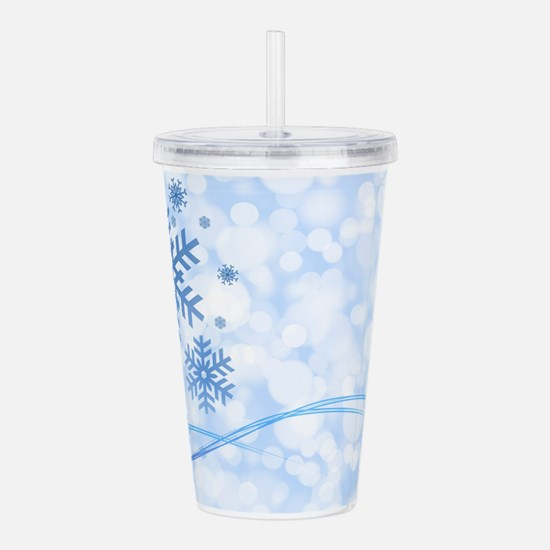Blue Snowflake Acrylic Double-wall Tumbler