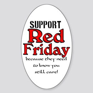 Red Friday Support Oval Sticker