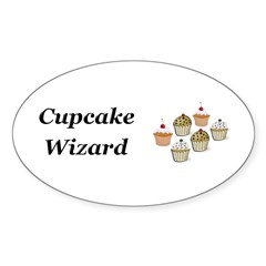 Cupcake Wizard Sticker (Oval 50 pk)