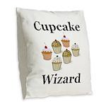 Cupcake Wizard Burlap Throw Pillow