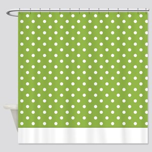Green With White Dots Shower Curtain