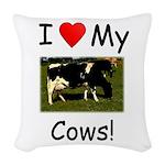Love My Cows Woven Throw Pillow