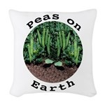 Peas On Earth Woven Throw Pillow