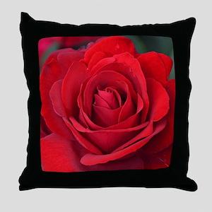Beautiful single red rose Throw Pillow