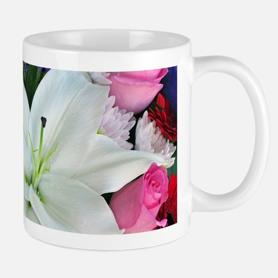 White lily floral bouquet Mugs