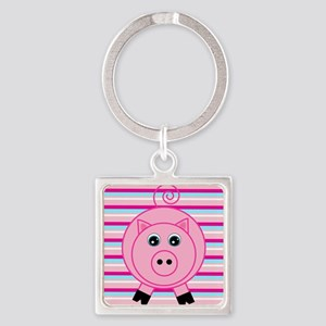 Pink Teal Striped Pig Keychains