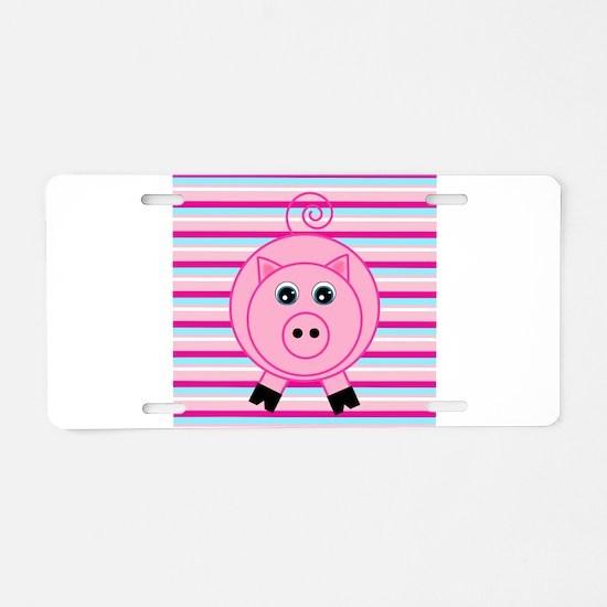 Pink Teal Striped Pig Aluminum License Plate
