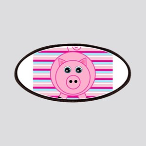 Pink Teal Striped Pig Patches