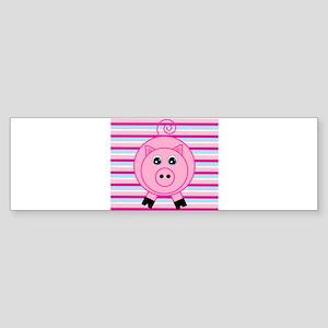 Pink Teal Striped Pig Bumper Sticker