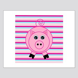 Pink Teal Striped Pig Posters