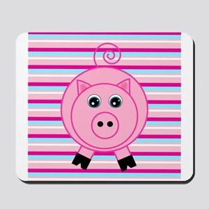 Pink Teal Striped Pig Mousepad
