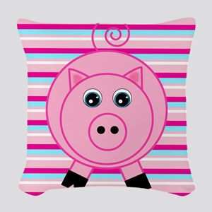 Pink Teal Striped Pig Woven Throw Pillow