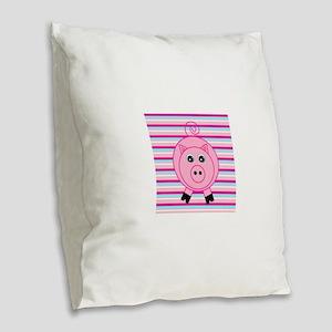 Pink Teal Striped Pig Burlap Throw Pillow