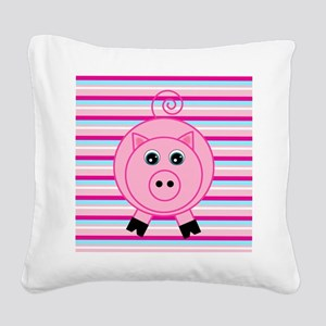 Pink Teal Striped Pig Square Canvas Pillow