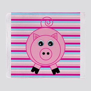 Pink Teal Striped Pig Throw Blanket