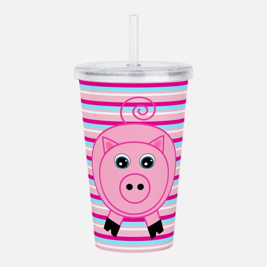 Pink Teal Striped Pig Acrylic Double-wall Tumbler