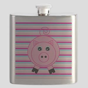 Pink Teal Striped Pig Flask