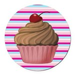 Pink and Teal Cupcake Round Car Magnet