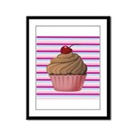 Pink and Teal Cupcake Framed Panel Print