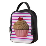 Pink and Teal Cupcake Neoprene Lunch Bag