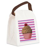 Pink and Teal Cupcake Canvas Lunch Bag
