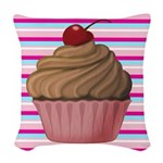 Pink and Teal Cupcake Woven Throw Pillow