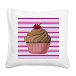 Pink and Teal Cupcake Square Canvas Pillow