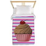 Pink and Teal Cupcake Twin Duvet
