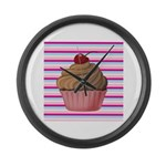 Pink and Teal Cupcake Large Wall Clock