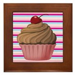 Pink and Teal Cupcake Framed Tile