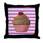 Pink and Teal Cupcake Throw Pillow