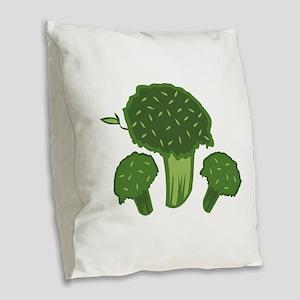Broccoli Bunch Burlap Throw Pillow