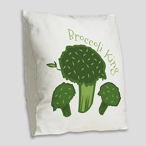 Broccoli King Burlap Throw Pillow