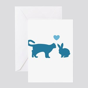 Cat Meets Bunny Greeting Cards