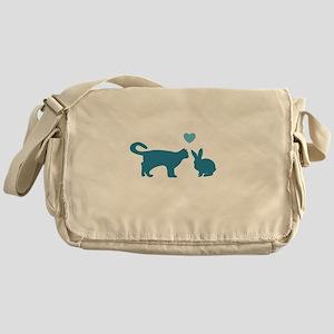 Cat Meets Bunny Messenger Bag