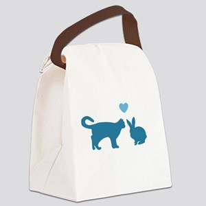 Cat Meets Bunny Canvas Lunch Bag