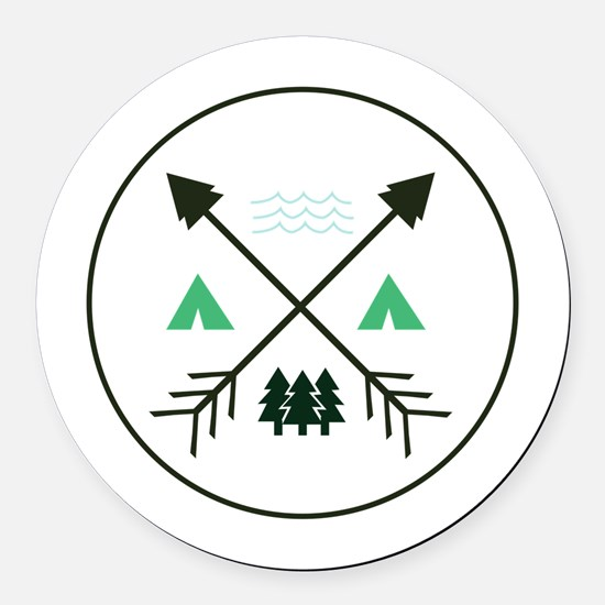 Camping Patch Round Car Magnet