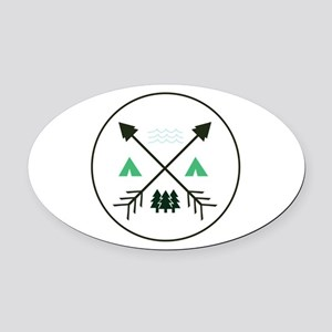 Camping Patch Oval Car Magnet