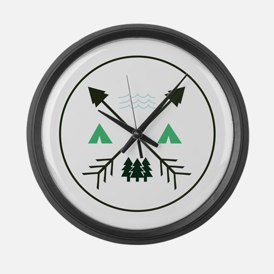 Camping Patch Large Wall Clock