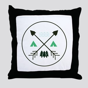 Camping Patch Throw Pillow