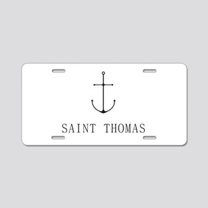 Saint Thomas Sailing Anchor Aluminum License Plate