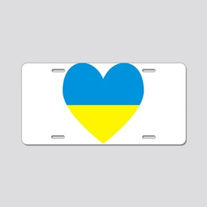 Ukrainian Flag Heart Aluminum License Plate