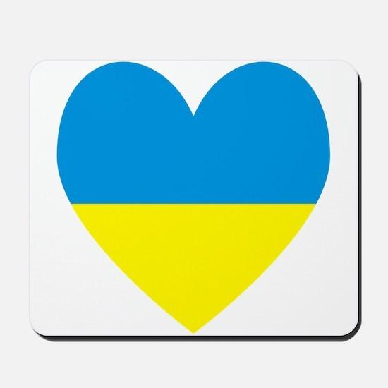 Ukrainian Flag Heart Mousepad