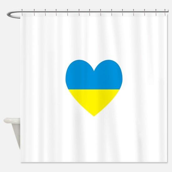 Ukrainian Flag Heart Shower Curtain