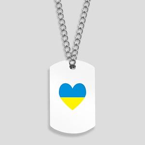Ukrainian Flag Heart Dog Tags