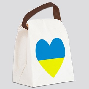 Ukrainian Flag Heart Canvas Lunch Bag