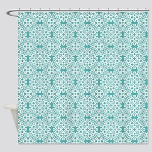 Blue Turquoise & White Lace 2 Shower Curtain