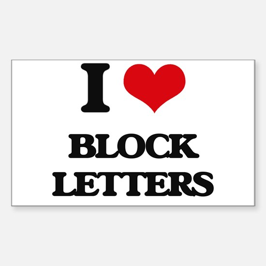 I Love Block Letters Decal