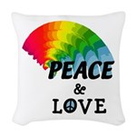 Rainbow Peace Love Woven Throw Pillow